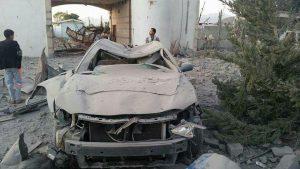 شاهد : دمار كبير بأحد المنازل الذي استهدفه طيران العدوان السعودي الامريكي  في حي النهضة بصنعاء((صور))