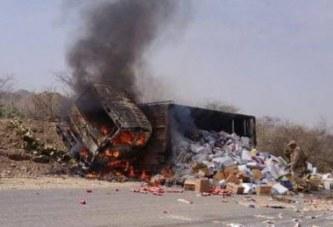 شهيد في غارة لطيران العدوان على شاحنة في الطريق العام بمديرية الصفراء في صعدة